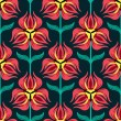 Red Tulip Pattern on dark background - Stock Vector