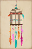 Vintage Bird Cage with colorful feathers and beads — Stock Vector