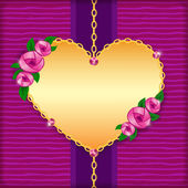 Greeting card with roses, golden heart and pink gems — Stock Vector