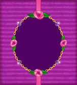Jewelry card with pink roses, gold chain and amethyst — Stock Vector