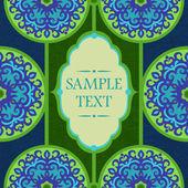 Kort med circle grön och blå orientaliska prydnad — Stockvektor