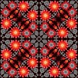 Red and Orange Flowers pattern on black background — Stock Vector #26293727