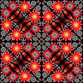 Red and Orange Flowers pattern on black background — Stock Vector