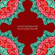 Watercolor red and green background with part of ornament. Vecto — Stock Vector
