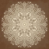 Lace circle ornament, ornamental floral pattern. — Stock Vector