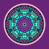 Lace circle oriental ornament, ornamental doily pattern in viol — Stock Vector