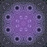 Lace circle oriental ornament, ornamental doily pattern on dark — Stock Vector