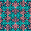 Stock vektor: Blue and coral floral abstract hand-draw seamless pattern.