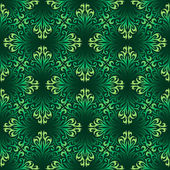Seamless ornamental pattern with green leaves — Stock Vector