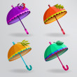 Set of colorful umbrellas. — Stock Vector