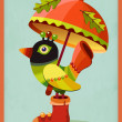 Funny colorful bird under orange umbrella. — Stock Vector