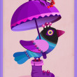 Funny colorful bird under violet umbrella. — Stock Vector