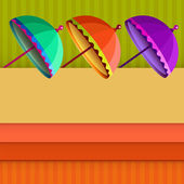 Card with colorful umbrellas. — Stock Vector