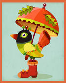 Funny colorful bird under orange umbrella. — Vettoriale Stock