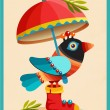 Colorful bird under a red umbrella. — Stock Vector