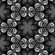 Floral Graphic Seamless Pattern. Black and White Background. — 图库矢量图片