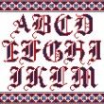 Alphabet. Cross stitch vector font. — Stock Vector