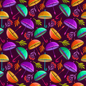 Seamless pattern with colorful umbrellas and autumn leaves. — Stock Vector