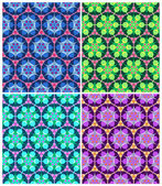 Set of 4 colorful and bright seamless geometric patterns — Stock Vector