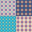 Set of 4 seamless pattern with snowflakes. Winter backgrounds. — Stock Vector