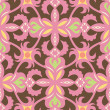 Floral Graphic Seamless Pattern on brown background. — Stock Vector