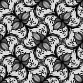 Floral Graphic Seamless Pattern. Black and White Background. — Stock Vector