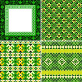 Set of ethnic cross stitch seamless patterns. — Stock Vector