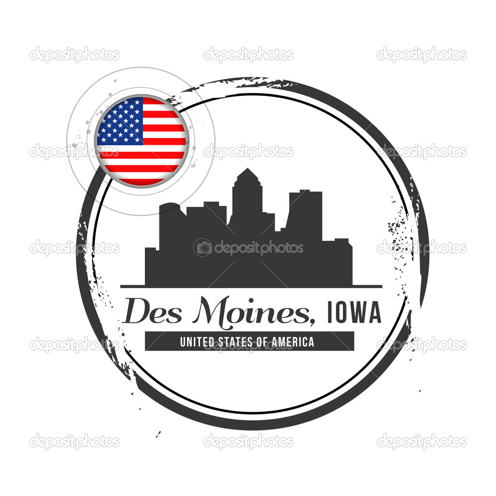 Stamp Des Moines, Capital of Iowa — Stock Vector #17858573