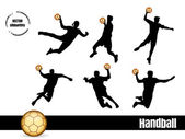 Handball silhouettes — Stock Vector