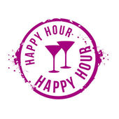 Stamp Happy hour — Stock Vector