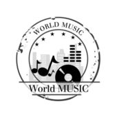 Stamp world music — Stock Vector