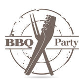 Stamp BBQ — Stock Vector
