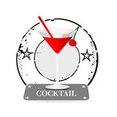 Stamp Cocktail — Stock Vector