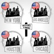 Stamps of 4 cities in USA — Stock Vector #34685339