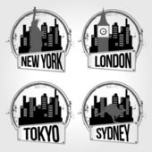 Stamps of 4 city in the world — Stock Vector