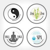 Zen ve yoga pullar — Stok Vektör