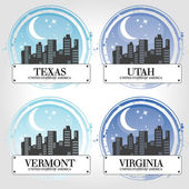Stamp of 4 american countries — Stock Vector