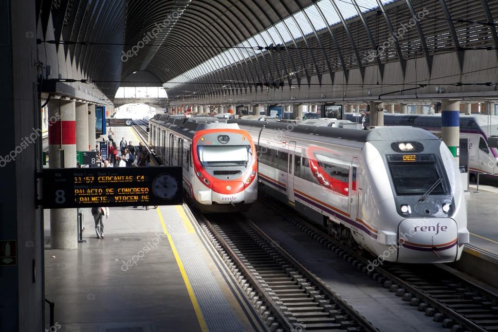 Spanish railways in the Santa Justa station in Seville  Stock Photo #17613671