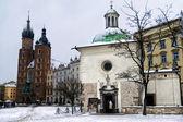 Square Krakow in winter — Stock Photo