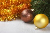Christmas composition over wooden background — Stock Photo