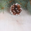 Christmas decoration over wooden background — Stock Photo #16917451