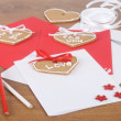 Handmade cards with cakes for Valentines Day — Stock Photo