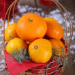 Christmas tangerines — Stock Photo