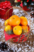 Tangerines and Christmas decorations — Foto Stock