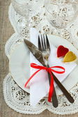 Table setting for Valentine's Day — Stock Photo