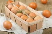 Huevos en caja — Foto de Stock