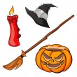 Candle, pumpkin, besom and cap — Stock Vector