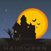 Night, House on a Halloween — Stock Vector