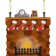 Object fireplace — Stock Vector