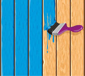 Painting of a wooden fence — Stock Vector